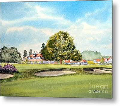 Metal Print featuring the painting Sunningdale Golf Course 18th Green by Bill Holkham