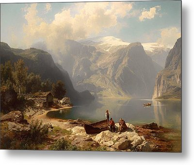 Sunny Day At A Norwegian Fjord Metal Print by Mountain Dreams