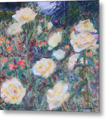 Sunny Day At The Rose Garden Metal Print by Quin Sweetman