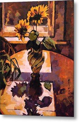 Sunny Flowers In Italian Vase Metal Print