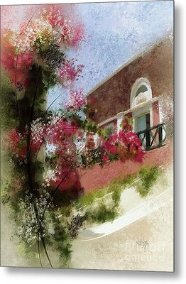 Metal Print featuring the photograph Sunny Santorini by Lois Bryan