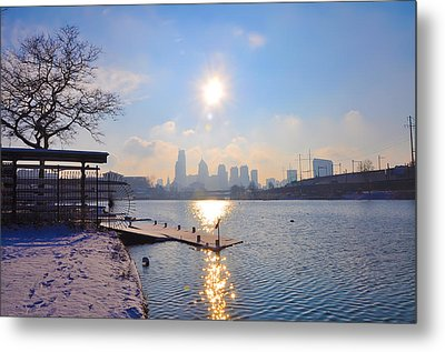 Sunny Schuylkill River In Winter Metal Print by Bill Cannon