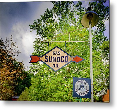 Sunoco Sign On Pole With Public Telephone Metal Print by Jack R Perry