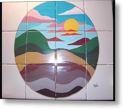 Metal Print featuring the ceramic art Sunrise Abstract On Tile by Hilda and Jose Garrancho