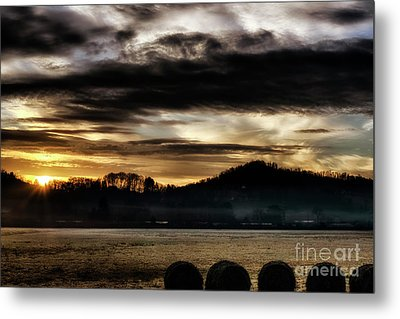Metal Print featuring the photograph Sunrise And Hay Bales by Thomas R Fletcher