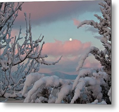 Sunrise And Moon-set Over Lake Boyd Metal Print