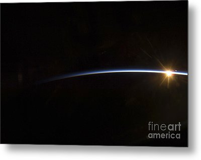 Sunrise As Viewed In Space Metal Print by Stocktrek Images