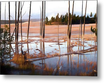 Sunrise At Fountain Paint Pots, Yellowstone National Park, Usa Metal Print by Greg Sigrist