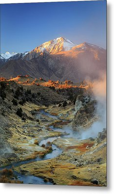 Metal Print featuring the photograph Sunrise At Hot Creek. by Johnny Adolphson
