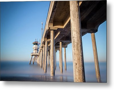 Metal Print featuring the photograph Sunrise At Huntington Beach Pier by Sean Foster
