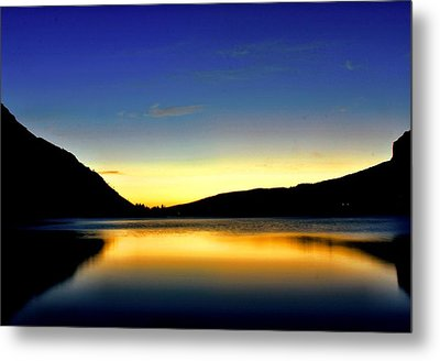 Sunrise At Many Glacier Lodge Metal Print by Matthew Winn
