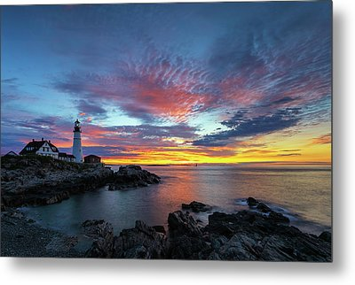 Sunrise At Portland Head Light Metal Print