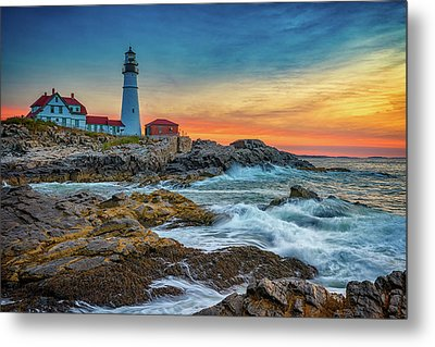 Sunrise At Portland Head Light Metal Print by Rick Berk