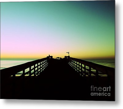 Sunrise At The Myrtle Beach State Park Pier In South Carolina Us Metal Print