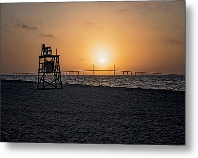 Sunrise At The Skyway Bridge Metal Print by Michael White