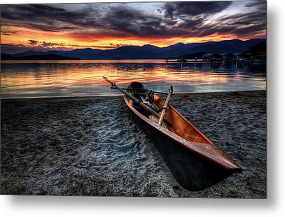 Sunrise Boat Metal Print