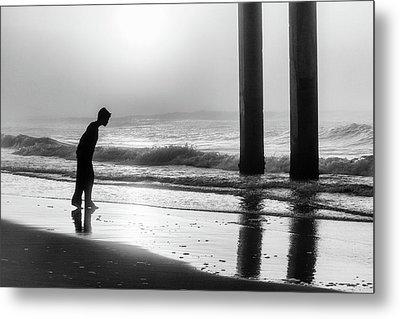 Metal Print featuring the photograph Sunrise Boy In Foggy Beach by John McGraw