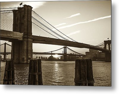 Sunrise - Brooklyn And Manhattan Bridges In Sepia Metal Print