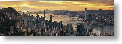 Sunrise Day To Night Shot Over Victoria Harbor  Metal Print by Anek Suwannaphoom