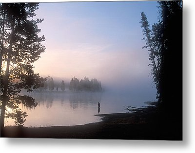 Sunrise Fishing In The Yellowstone River Metal Print by Michael S. Lewis