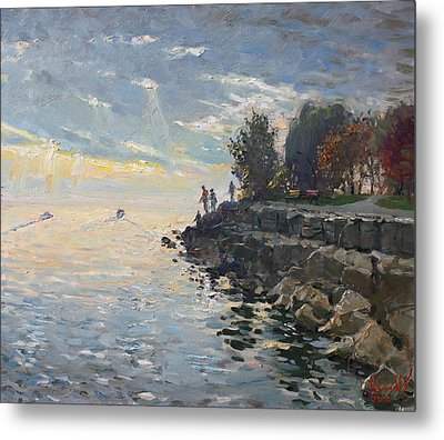 Sunrise Fishing Metal Print by Ylli Haruni