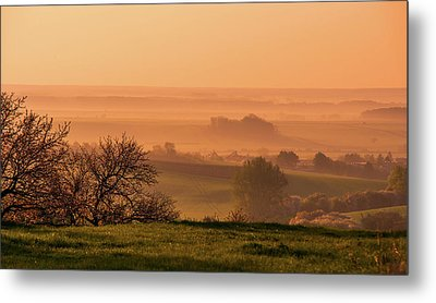 Metal Print featuring the photograph Sunrise Foggy Valley by Jenny Rainbow