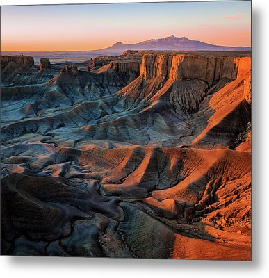 Metal Print featuring the photograph Sunrise In The Badlands. by Johnny Adolphson