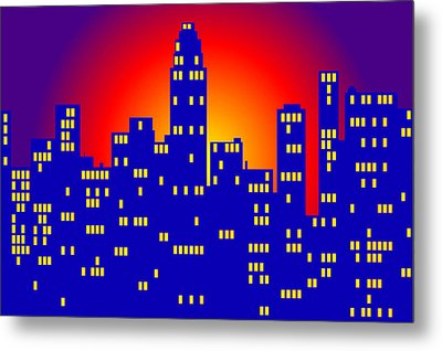Sunrise In The City Metal Print by Digital Art Cafe