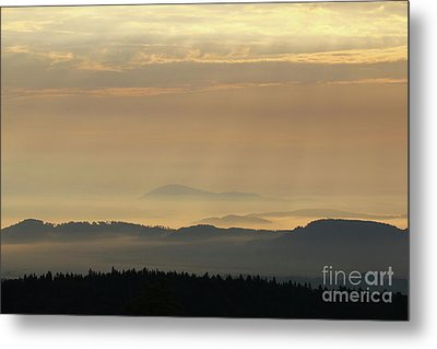 Sunrise In The Mountains - Hills In Morning Mist Metal Print by Michal Boubin