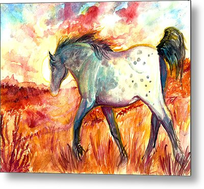 Metal Print featuring the painting Sunrise Mare by Jenn Cunningham