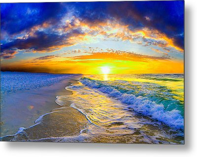Sunrise On Ocean Waves Beautiful Orange Sunrise Metal Print