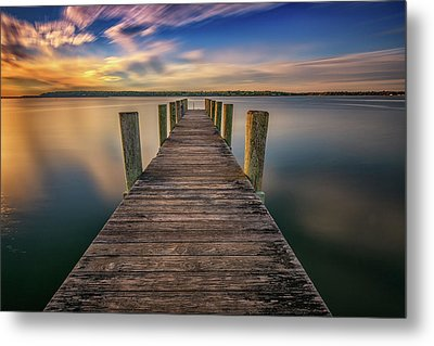 Sunrise On The Dock By The Peconic River Metal Print by Rick Berk