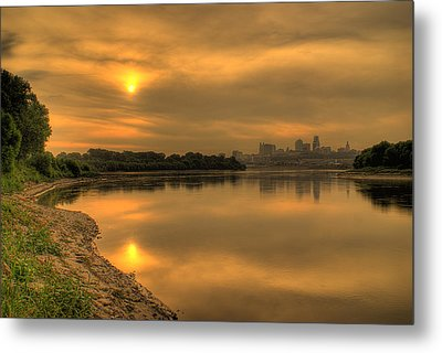 Sunrise On The Missouri River Metal Print by Don Wolf