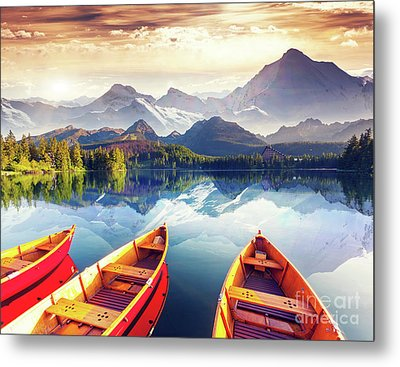 Sunrise Over Australian Lake Metal Print