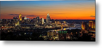 Sunrise Over Cincinnati Metal Print by Keith Allen