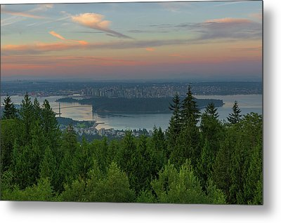 Sunrise Over City Of Vancouver Bc Canada Metal Print by David Gn