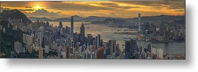 Sunrise Over Hong Kong And Kowloon City Metal Print by Anek Suwannaphoom