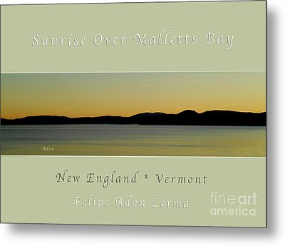 Sunrise Over Malletts Bay Greeting Card And Poster - Six V4 Metal Print