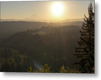 Sunrise Over Mount Hood And Sandy River Metal Print by David Gn
