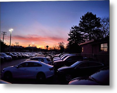 Metal Print featuring the photograph Sunrise Over The Car Lot by Jeanette O'Toole