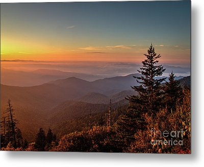Metal Print featuring the photograph Sunrise Over The Smoky's V by Douglas Stucky