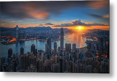 Sunrise Over Victoria Harbor As Viewed Atop Victoria Peak Metal Print