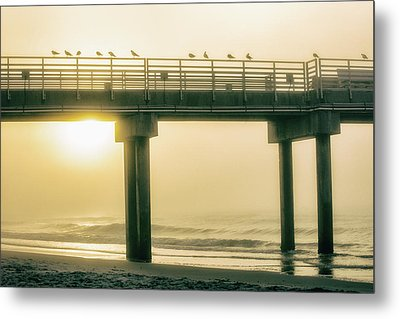 Metal Print featuring the photograph Sunrise Pier In Alabama  by John McGraw