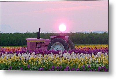 Sunrise Pink Greets John Deere Tractor Metal Print
