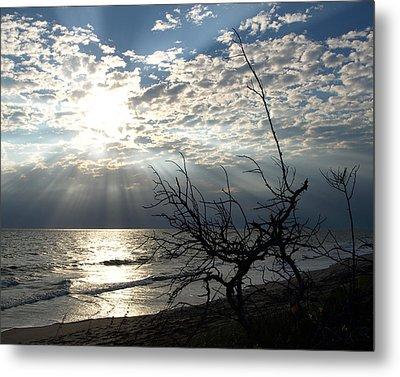 Sunrise Prayer On The Beach Metal Print by Allan  Hughes