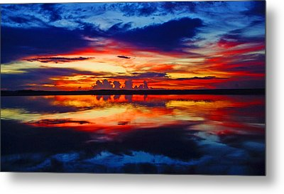 Sunrise Rainbow Reflection Metal Print