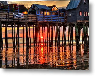 Sunrise Seascape - Old Orchard Beach Pier - Maine Metal Print