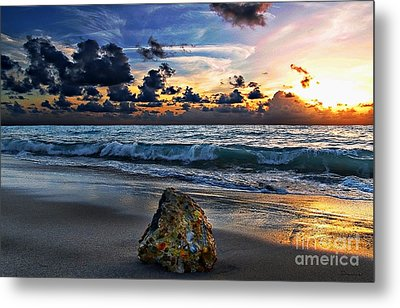 Sunrise Seascape Wisdom Beach Florida C3 Metal Print by Ricardos Creations