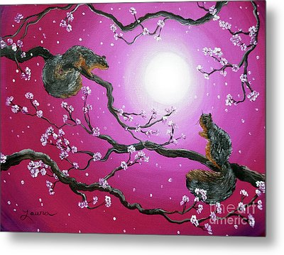 Sunrise Squirrels Metal Print by Laura Iverson