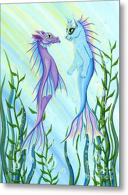Metal Print featuring the painting Sunrise Swim - Sea Dragon Mermaid Cat by Carrie Hawks